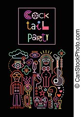 """Neon lights graphic design with text """"Cocktail Party"""". Abstract vector composition with black background."""