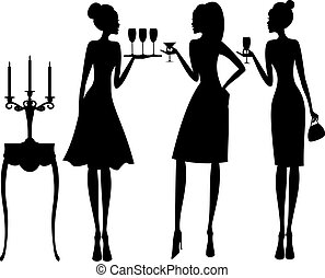 Cocktail Party - Vector illustration of three young elegant...