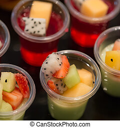 Cocktail party with variety of desserts and food