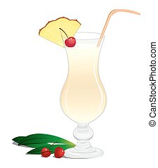 Cocktail Pina Colada - Cocktail with a slice of pineapple...