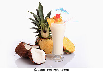 Cocktail - Pina Colada over white background, garnished with...