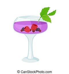 cocktail, pourpre, illustration, arrière-plan., berries., vecteur, blanc