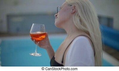cocktail, rand, schöne , trinken, alkohol, schwimmbad, m�dchen