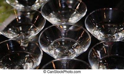 cocktail, rempli, table., lunettes