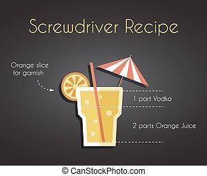 cocktail, rezept, treiber, schraube, getränk