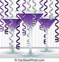 cocktail, ruban, carte