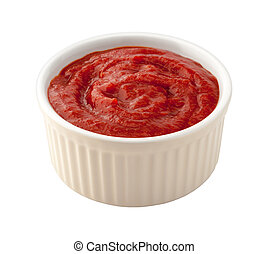 Cocktail Sauce in a White Ramekin. The image is a cut out,...