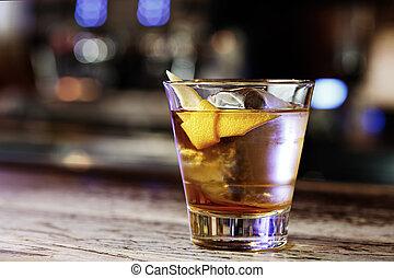 Cocktail Sazerac in the nightclub
