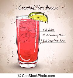 Cocktail Sea Breeze with Cherry and lime on isolated white
