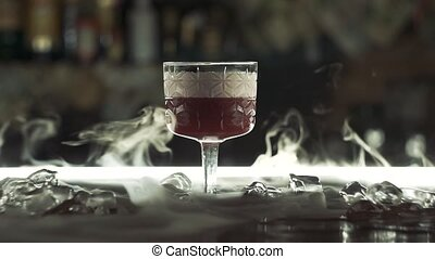 cocktail, sec, barre, glace