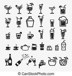 cocktail, set., ep, ilustracja, ikony