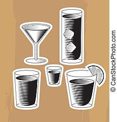 cocktail, set, woodcut
