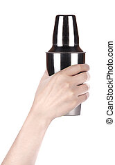 Cocktail shaker. Isolated with hand