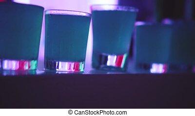 Cocktail shots at the bar
