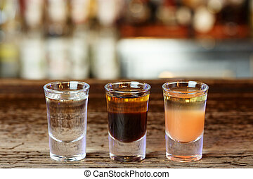 cocktail shots in the bar