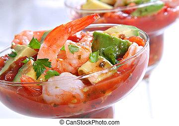 Shrimp with Avocado Salsa Sauce - Cocktail Shrimp with...