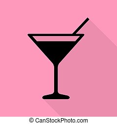 Cocktail sign illustration. Black icon with flat style shadow path on pink background.