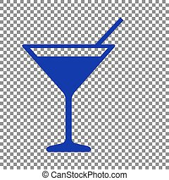 Cocktail sign illustration. Blue icon on transparent background.