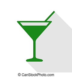 Cocktail sign illustration. Green icon with flat style shadow path.