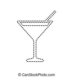 Cocktail sign illustration. Vector. Black dashed icon on...