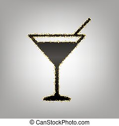 Cocktail sign illustration. Vector. Blackish icon with golden stars