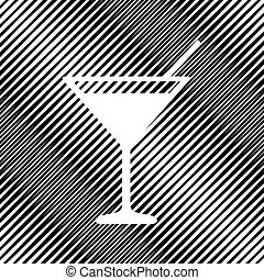 Cocktail sign illustration. Vector. Icon. Hole in moire backgrou