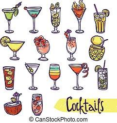 Cocktail Sketch Set - Cocktail glasses cold summer party...
