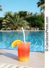 cocktail, slå samman, tropisk