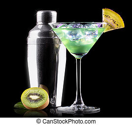 Cocktail Smoothie, with slices of kiwi on a black