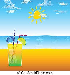 cocktail, strand, abbildung