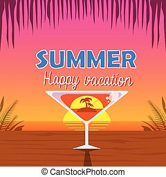 cocktail, sur, bord mer, arbre, vacances, martini, exotique...