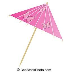 Cocktail umbrella on white