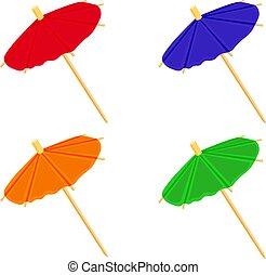 Cocktail umbrellas colorful set vector illustration