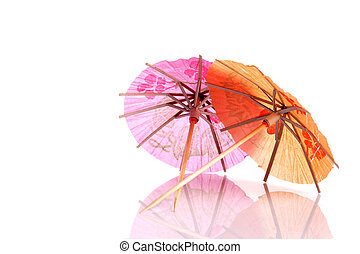Colourful paper umbrellas forming a bright background.