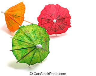 Green, orange and red cocktail umbrellas