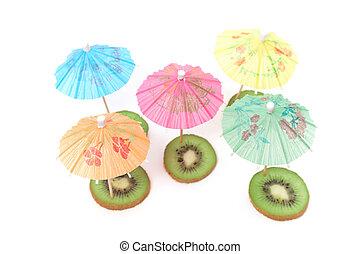 cocktail umbrellas on kiwi