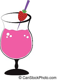 Cocktail - Pink alcohol cocktail daiquiri with strawberry