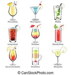 cocktail, vettore, set, icone