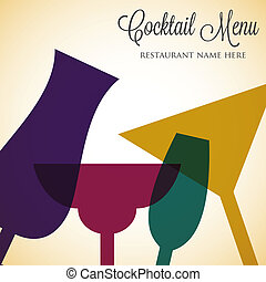 cocktail, voile de surface, format., vecteur, retro, carte