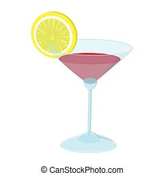 Cocktail with a lime slice cartoon icon