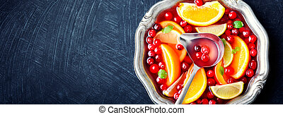 Cocktail with fruits and berries