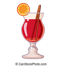 Cocktail with lemon icon, cartoon style