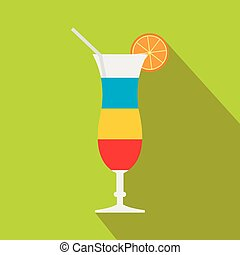 Cocktail with lemon icon, flat style
