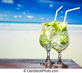 cocktail with lime and mint - Mojito cocktail with lime and...