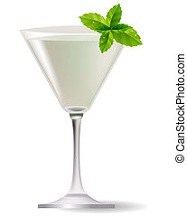 Cocktail with mint leaves isolated on white background