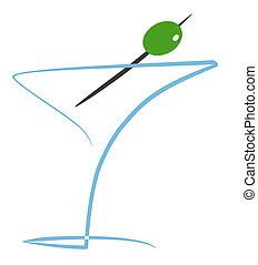 Cocktail with olive Illustration