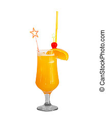 Cocktail with orange isolated on white
