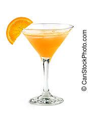 cocktail with orange juice - orange cocktail in a martini...