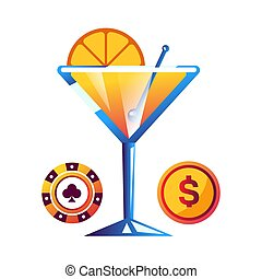 Cocktail with orange, poker chip and gold coin - Cocktail...