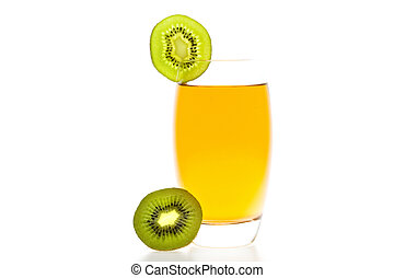 cocktail with slices of kiwi isolated on white